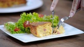 Potato gratin. Eat potato gratin stock footage