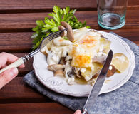 Potato gratin with mushrooms. On a plate stock photo