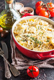 Potato gratin, in rustic dish. Royalty Free Stock Photo