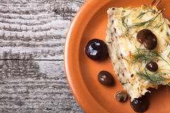 Potato gratin with salty mashrooms and dill in a plate on a old. Wooden board Royalty Free Stock Photos