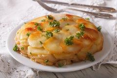 Potato gratin on white plate closeup on the table. horizontal Stock Photos