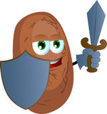 Potato guard with shield and sword Royalty Free Stock Photography