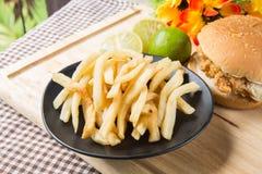 Potato and hamburger Stock Photo