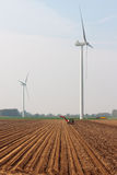 Potato harvesting with two turbines Royalty Free Stock Images