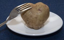 Potato Heart. Root of potato in the form of heart rests on a plate Royalty Free Stock Image
