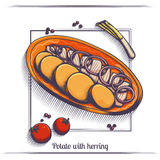 Potato With Herring Royalty Free Stock Photography