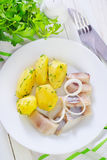Potato and herring Stock Images
