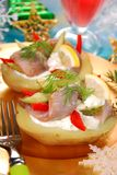 Potato with herrings and sour cream Stock Photo