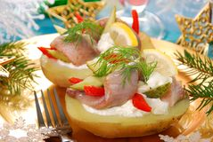 Potato with herrings and sour cream royalty free stock photo