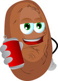 Potato holding beer or soda can Stock Photo