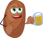 Potato holding beer Royalty Free Stock Image