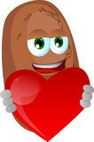 Potato holding a big red heart Stock Image