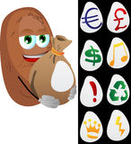 Potato holding a big sack with variable signs Stock Photo