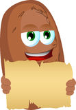 Potato holding a blank old paper Royalty Free Stock Photos