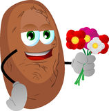 Potato holding a bunch of flowers Royalty Free Stock Images
