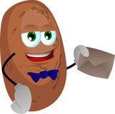Potato holding an envelope Stock Image