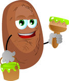 Potato holding a paint can and a paint brush Stock Photos