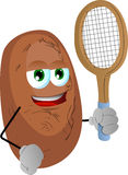 Potato holding a tennis rocket Stock Photos
