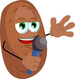Potato hosting a show and talking into a microphone Royalty Free Stock Image
