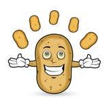 Potato - Juggling. Potato is doing acrobat by juggling the potatoes Royalty Free Stock Image