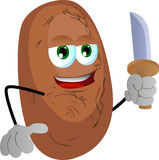 Potato with a knife Royalty Free Stock Photos