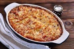Potato kugel gratin. Food. dinner stock photos