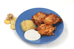 Potato Latkes & Dreidel Royalty Free Stock Images