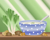 Potato and leek soup. An illustration of a bowl of potato and leek soup with fresh leeks and potatoes on a wooden table royalty free illustration
