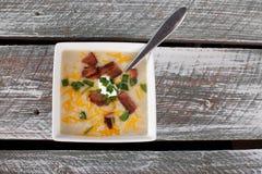 Potato Leek Soup above view Stock Image