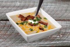 Potato Leek Soup angled shot Royalty Free Stock Photography