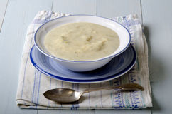 Potato leek soup in a bowl Stock Photo
