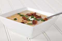 Potato Leek Soup close shot Stock Photo