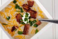 Potato Leek Soup close up shot Stock Images