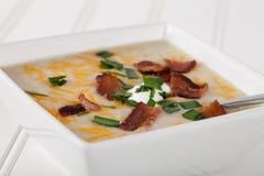 Potato Leek Soup macro shot Stock Photos