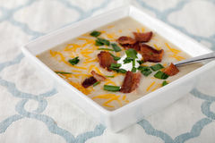 Potato Leek Soup on place table Royalty Free Stock Images