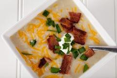 Potato Leek Soup top view Royalty Free Stock Photos