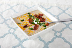 Potato Leek Soup with toppings Royalty Free Stock Photography