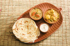 Potato Masala Curry with Potato Paratha Stock Photo