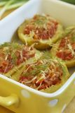 Potato with meat and cheese Royalty Free Stock Photos