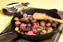 Potato medley meal cooked in a cast iron pan Royalty Free Stock Photo