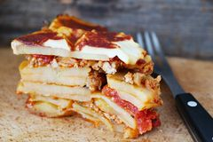 Potato Moussaka. Layered potato dish with ground meat Royalty Free Stock Photography