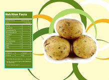 Potato nutrition facts. Creative Design for Potato with Nutrition facts label Stock Images