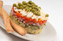 Potato Olivier (russian) salad Stock Photo