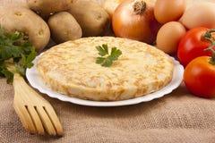 Potato omelette. Spanish potato omelette, cuisine cooked dishes stock photography