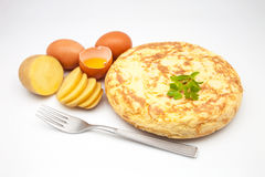 Potato omelette. Omelette freshly made with ingredients stock photo