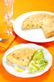 Potato omelette with olive oil and green pepper Royalty Free Stock Image