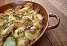 Potato and onion gratin stock image