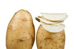 Potato. Organic potato chips isolated on white background Royalty Free Stock Photo
