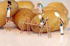 Potato painters. Miniature painters working on potatoes Stock Image