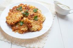Potato pancaces or latke traditional Hanukkah Royalty Free Stock Images